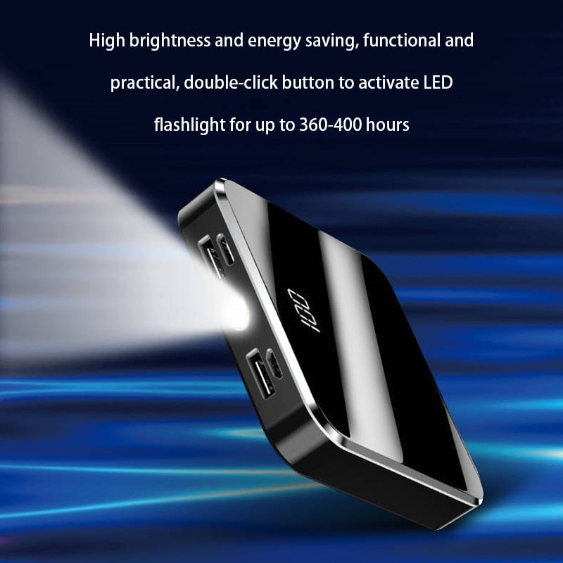 20000mAh Portable Mini Power Bank Mirror Screen LED Display Powerbank External Battery Pack Poverbank For Smart Mobile Phone