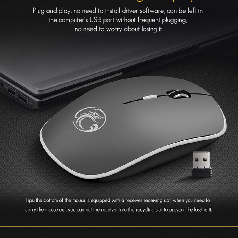 iMice Wireless Mouse Silent Computer Mouse 1600 DPI Ergonomic Mause Noiseless Sound USB PC Mice Mute Wireless Mice for Laptop