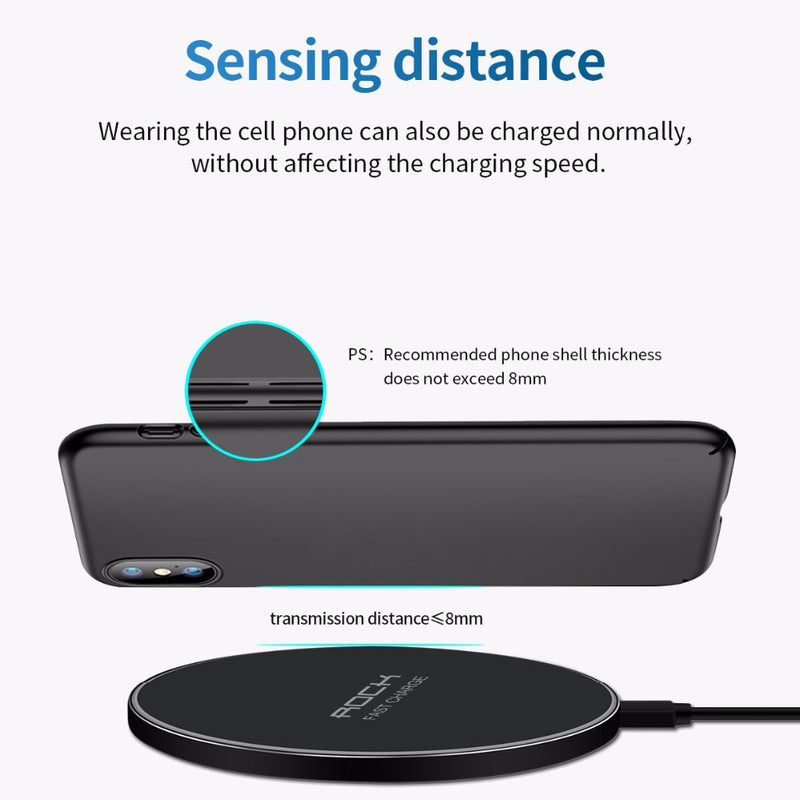 LED Breathing Light 10W Wireless Charger , ROCK Qi Fast Wireless Charging Pad For iPhone X XS 8 Samsung Huawei P30 PRO Xiaomi