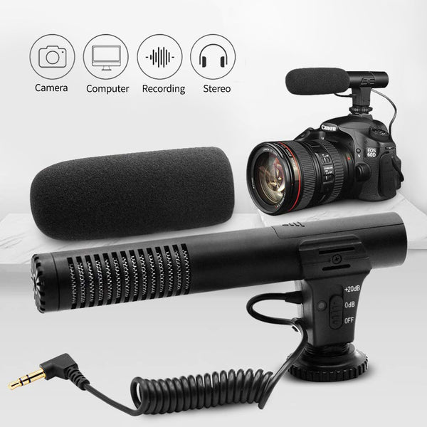 MAMEN 3.5mm Audio Plug Professional Camera Recording Microphone For Camera DSLR Digital Video Computer Camcorder VLOG Microfone