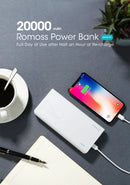 20000mAh ROMOSS Sense 6+ Power Bank With QC3.0 Two-way Fast Charging External Battery Portable Charge For Phones Tablet