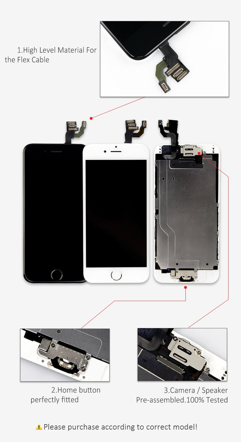 AAA+++ For iPhone 6 6S 7 8 Plus LCD Full Assembly Completed With 3D Force Touch For iPhone 5 5C 5S SE Screen Replacement Display