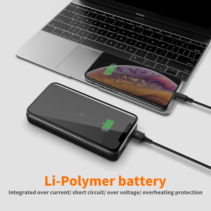 Baseus 10000mAh Qi Wireless Charger Power Bank External Battery Wireless Charging Powerbank For iPhone11 X Samsung huawei Xiaomi