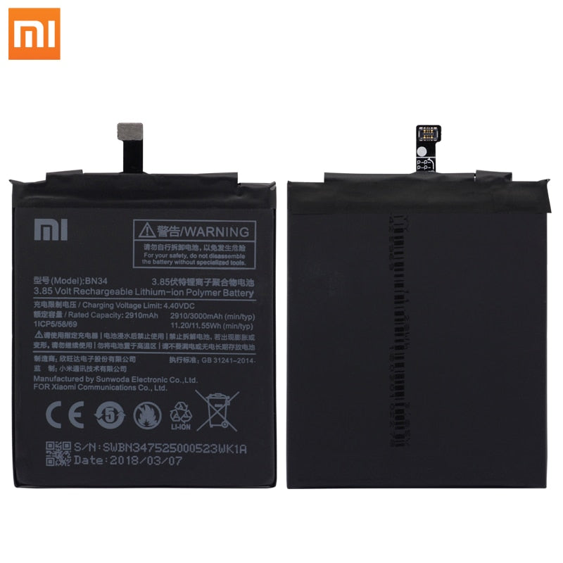 "Xiao Mi Original Phone Battery BN34 for Xiaomi Redmi 5A 5.0"" Replacement Battery 2910mAh High Capacity Phone Batteries + Tools"