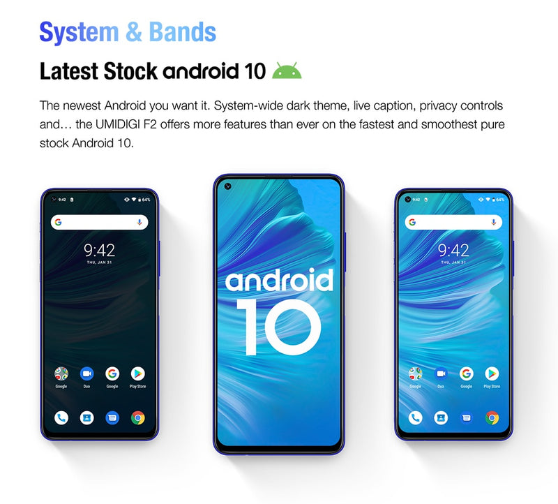 "IN STOCK UMIDIGI F2 Android 10 Global Bands 6.53""FHD+6GB 128GB 48MP AI Quad Camera 32MP Selfie Helio P70 Smartphone 5150mAh NFC"