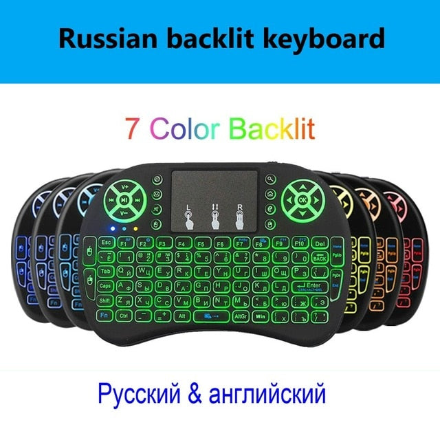 2.4G I8 Mini Keyboard Wireless Keyboard Backlit Air Mouse English Russian Spanish French Remote Control for Android TV BOX