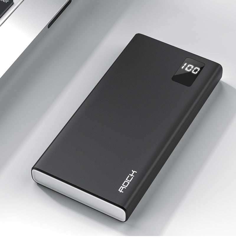 ROCK Power Bank 10000mAh Portable Fast Charging PowerBank 10000 Dual USB Mini External Battery Charger For Xiaomi Mi PoverBank