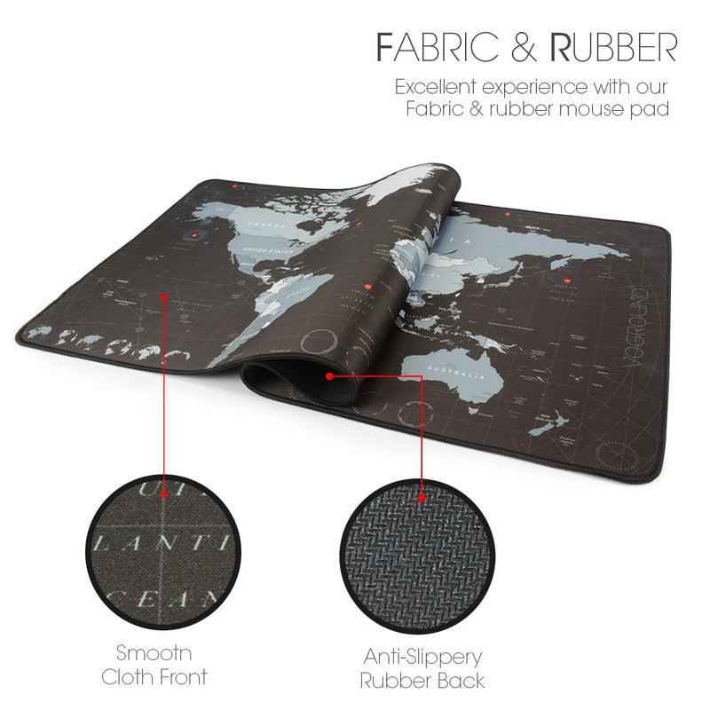 Extra Large Mouse Pad World Map Computer Gaming Mousepad Anti-slip Natural Rubber with Locking Edge Gamer Big Mouse Mat