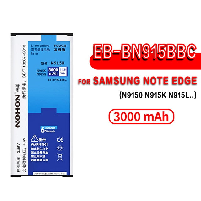 NOHON Battery For Samsung Galaxy Note 2 3 4 8 Edge Note8 N9500 Note4 N9100 N910X Note3 NFC N9000 Note2 N7100 Original Bateria