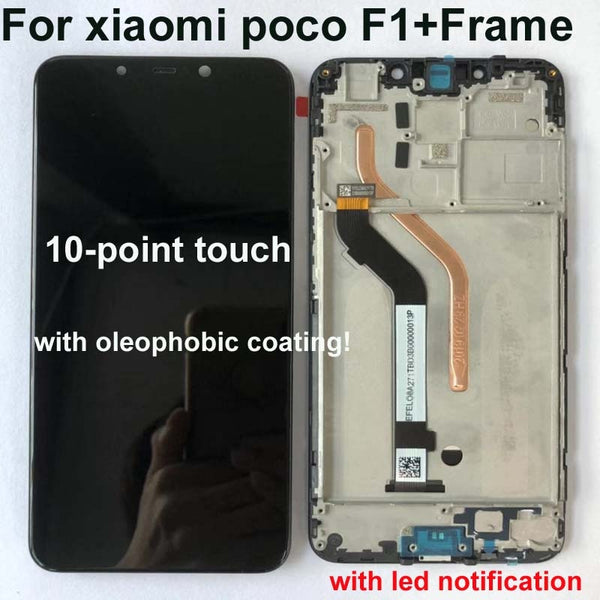 "100% New Original+Frame For 6.18""Xiaomi poco F1 LCD Display Touch Screen Digitizer Assembly for xiaomi mi Pocophone F1(10 point)"