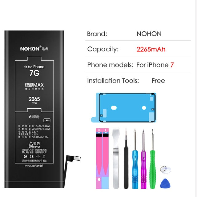 High capacity NOHON Battery For Apple iPhone 6 S 6S 5 5S 5C 7 iPone iPhone5 iPhone6 iPhone5S iPhone6S iPhone7 Replacement Tools