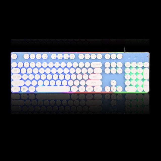Gaming Russian Keyboard Retro Round Glowing Keycap Metal Panel Backlit USB Wired Metal Panel Illuminated Border Waterproof