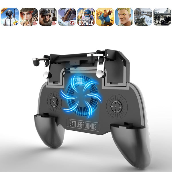 Pubg Controller Phone Gamepad Pubg Mobile Trigger L1R1 Shooter Joystick Game Pad Holder Cooler Fan with 2000/4000mAh Power Bank