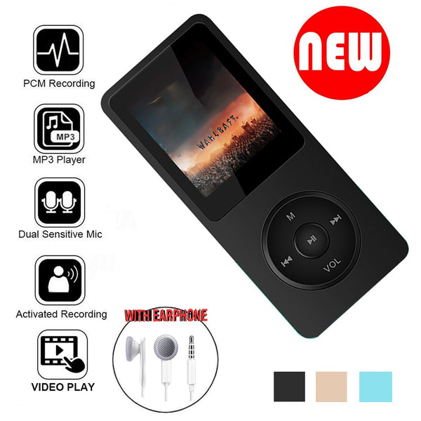 Mini Playback Mp3 Lossless Sound Music Player Fm Recorder Tf Card 80 Hours Mp3 Player With Earphone