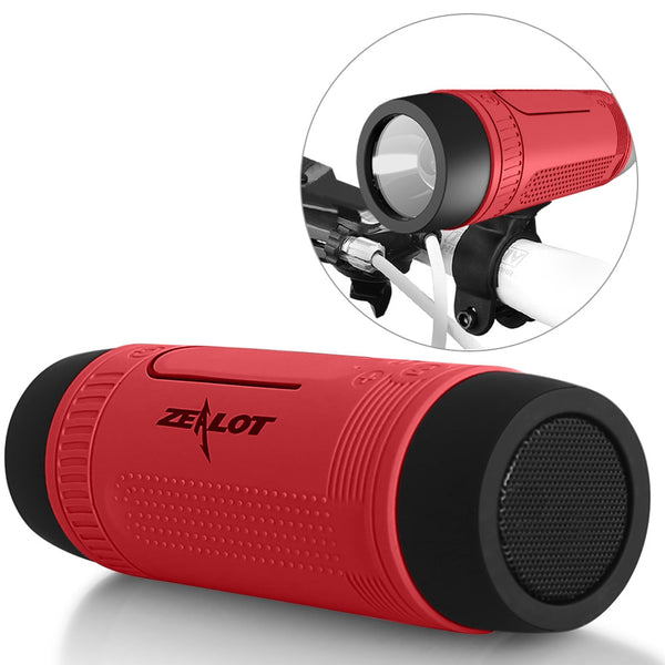 Zealot S1 Bluetooth Speaker Outdoor Bicycle Portable Subwoofer Bass Wireless Column FM radio Power Bank+Flashlight+Bike Mount