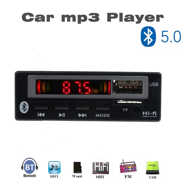 MP3 WMA WAV Decoder Board 5V 12V Wireless Audio Module Color screen AUX  USB  TF FM Auto Accessories Audio Modification