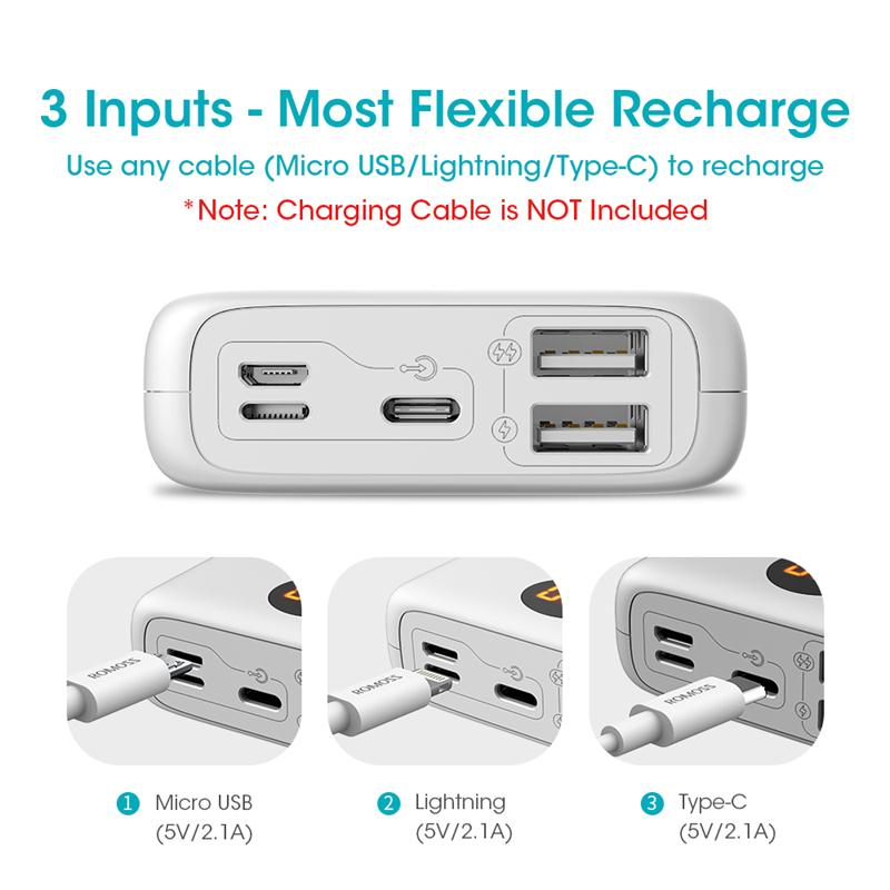 ROMOSS OM10 10000mAh Power Bank With Double USB Port Cable External Battery Pack Travel Size Portable Charger For Tablet iPhone