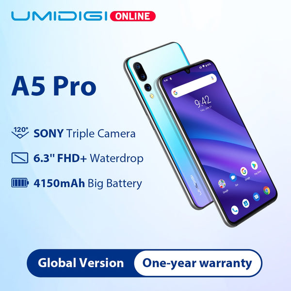 UMIDIGI A5 PRO Global Bands  16MP Triple Camera  Android 9.0 Octa Core 6.3' FHD+ Waterdrop Screen 4150mAh 4GB+32GB Mobile Phone