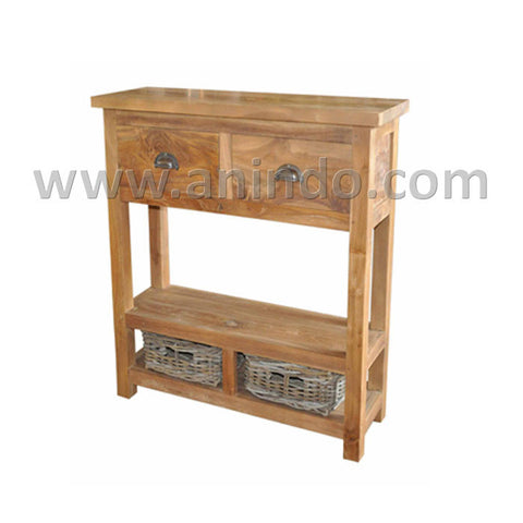 side table with rattan drawers