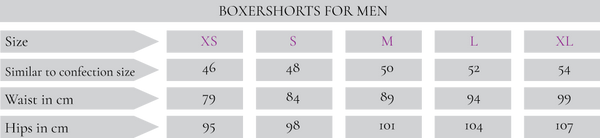 boxershort size guide
