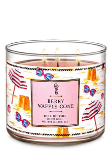 "Bath and Body works 3-Wick scented candle ""Berry Waffle Cone"""