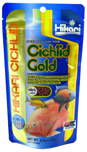 Hikari Cichlid Gold Color Enhancing Sinking Fish Food - Mini Pellet