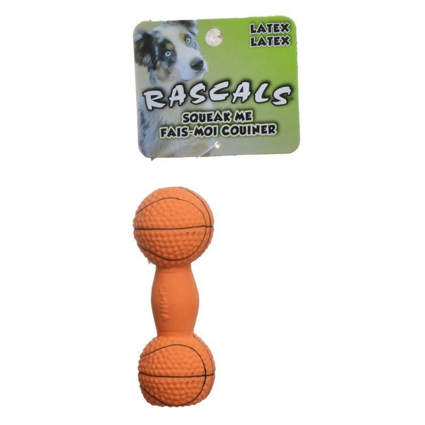Rascals Latex Basketball Dumbbell Dog Toy