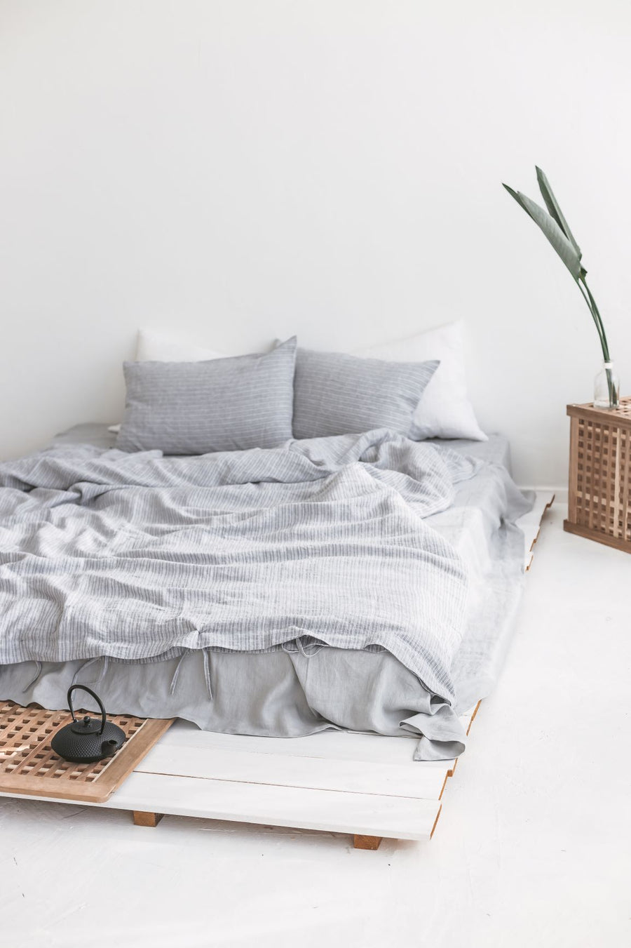 Set Of Dusty Blue Linen Duvet Cover And 2 Pillowcases