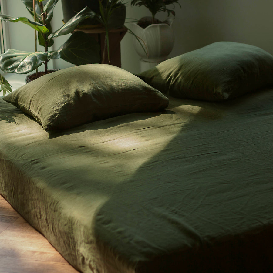 Forest Green Linen Fitted Sheet