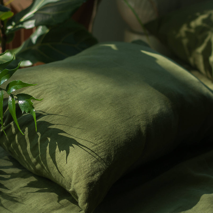 Forest Green Linen Pillow Case