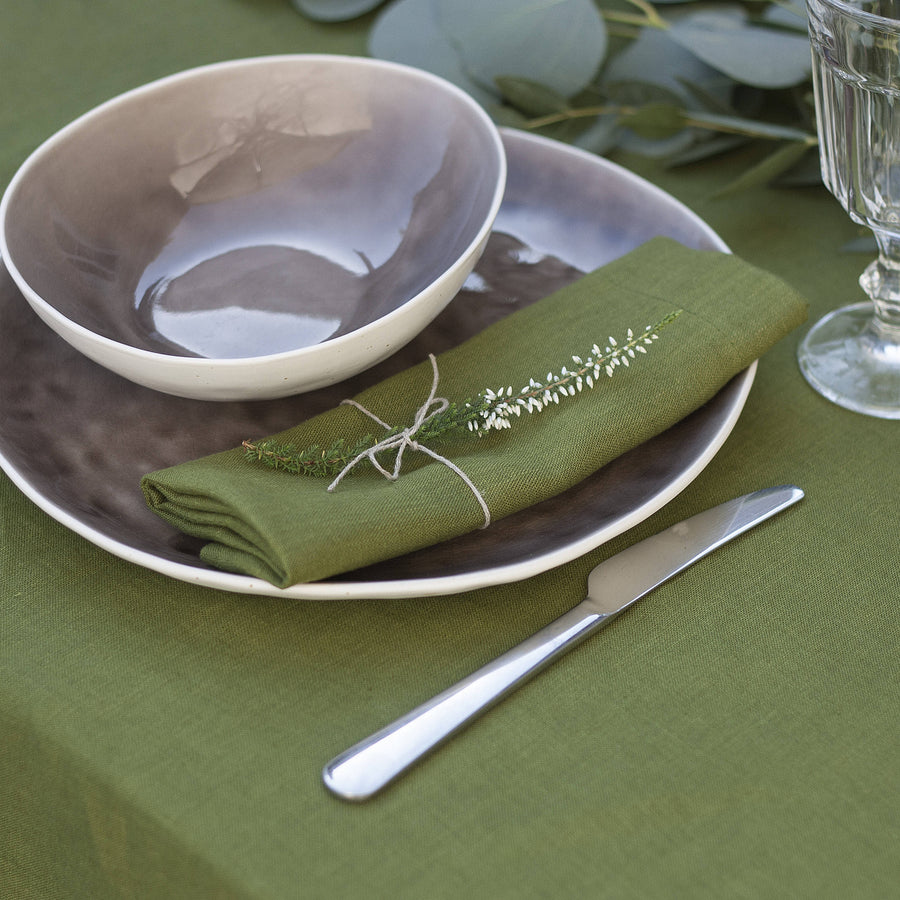 Moss Green Napkins Set Of 2 Mitered Corners