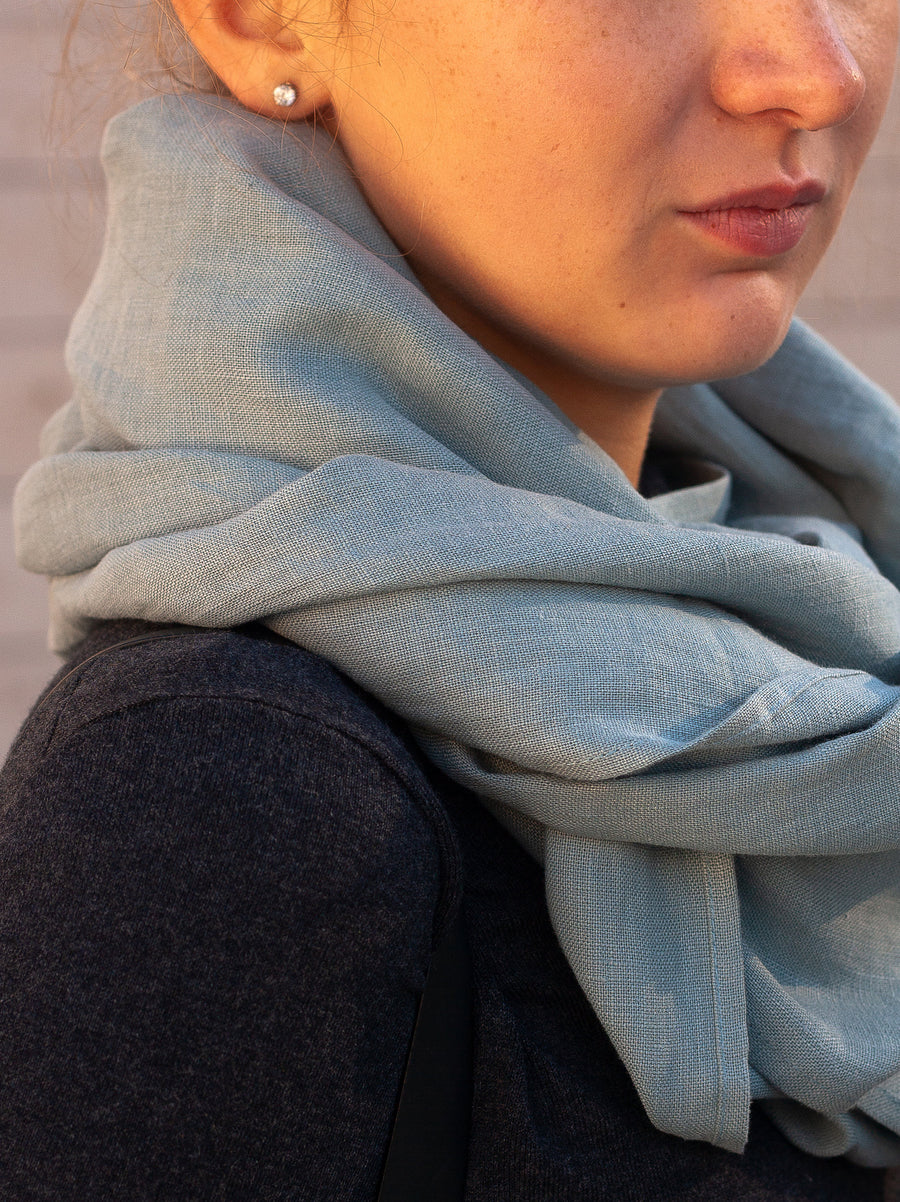 Dusty Aqua Linen Scarf