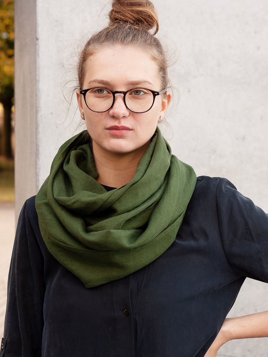 Dark Green Linen Scarf
