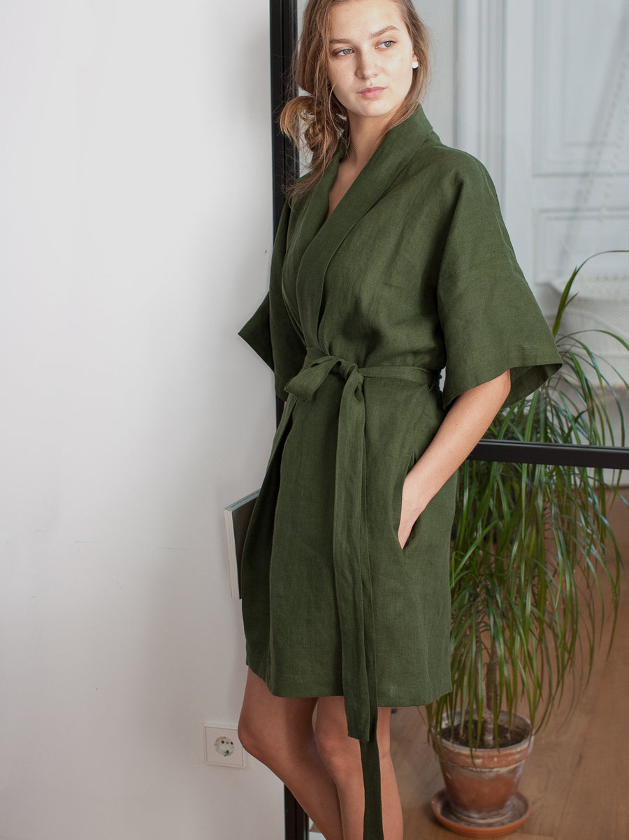 Dark Green Linen Robe Gift Set