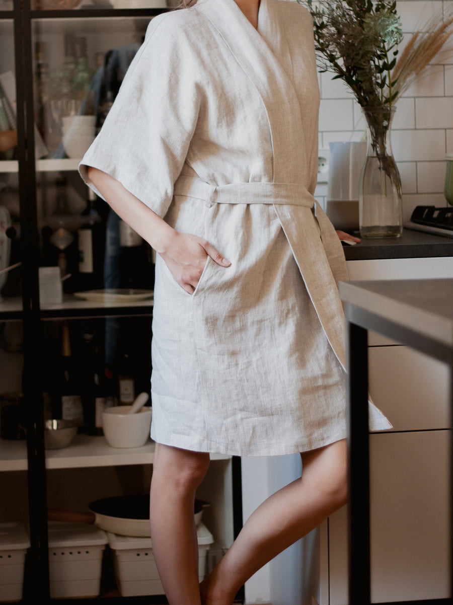 Natural Light Linen Robe
