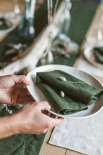 Dark Green Linen Napkins Set Of 2 Mitered Corners
