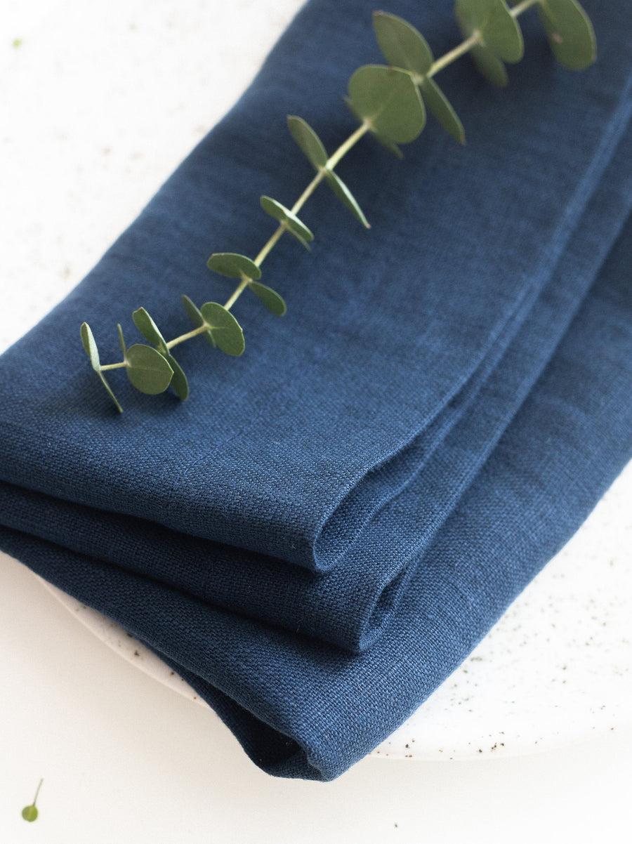 Steel Blue Linen Napkins Set Of 2 Mitered Corners