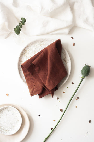 Rusty Linen Napkins Set Of 2 Mitered Corners