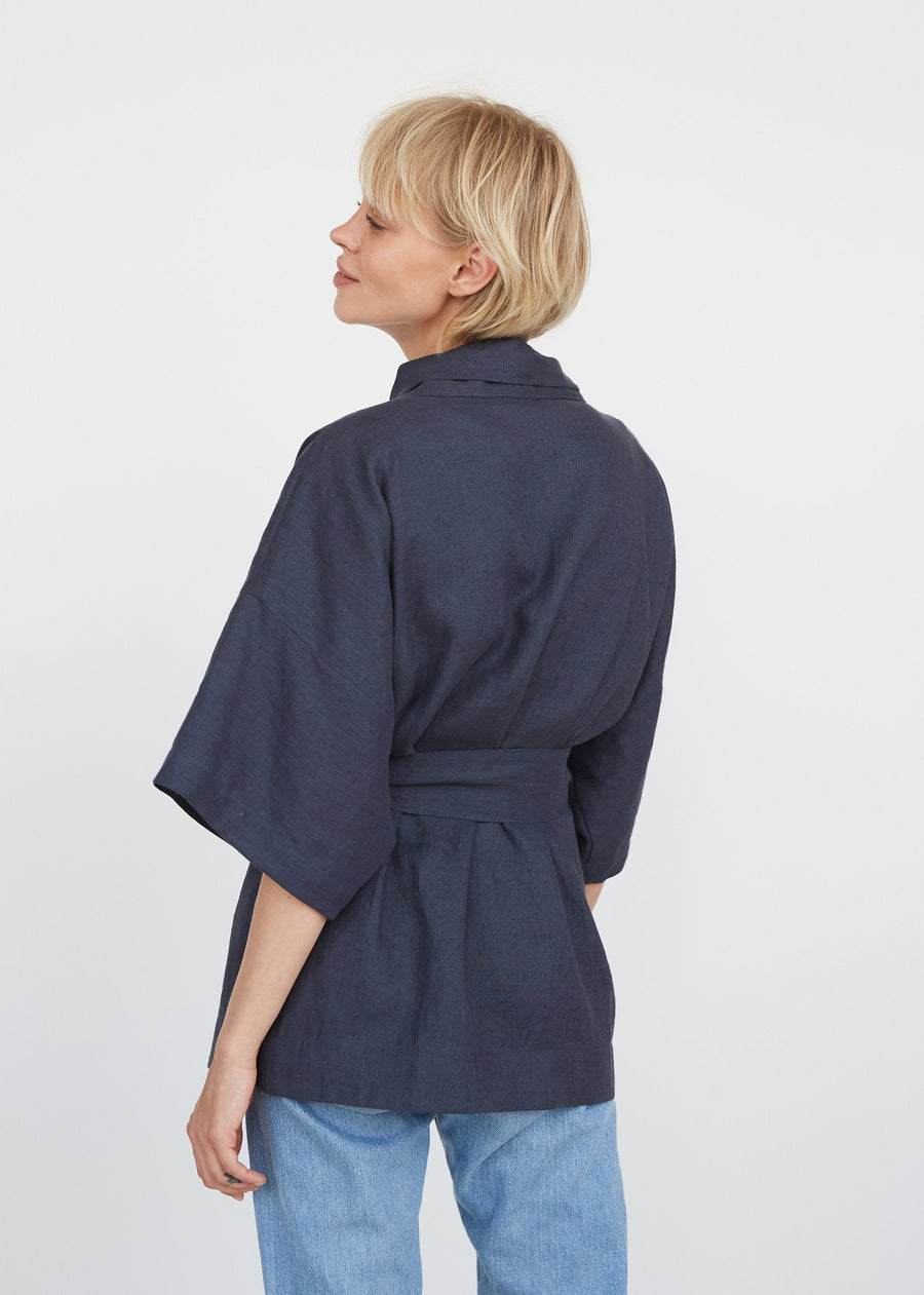 Natural Light Linen Kimono Jacket