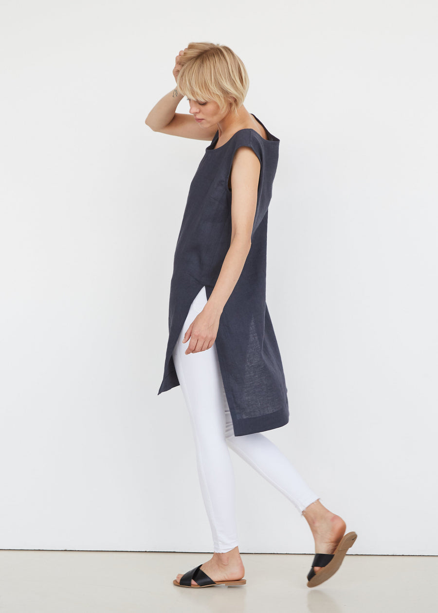 Coal Gray Linen Tunic
