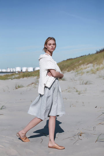 Cloud Gray Linen Skirt