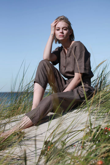 Walnut Brown Linen Jumpsuit