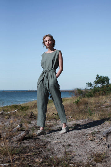 Safari Green Linen Jumpsuit