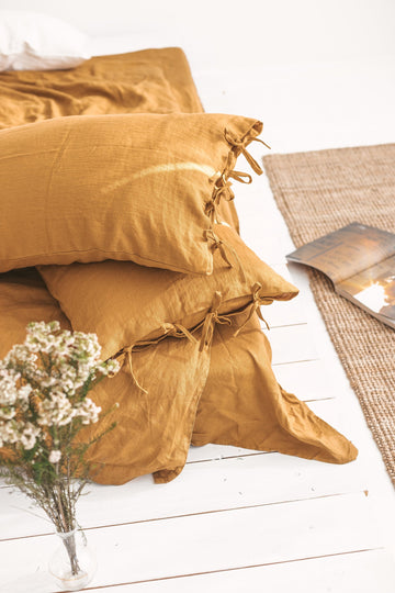 Amber Linen Pillow Case With Ties