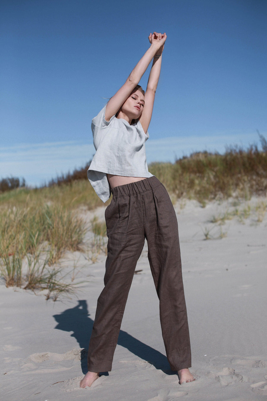 Walnut Brown Linen Pants