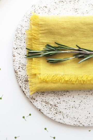 Chartreuse Yellow Fringed Linen Napkins Set Of 2