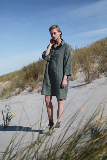 Safari Green Linen Shirt Dress