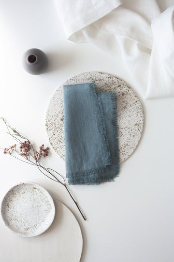 Dusty Aqua Linen Fringed Napkins Set Of 2