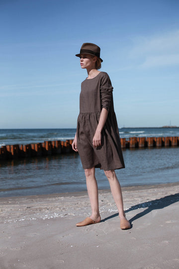Walnut Brown Linen Dress With Long Sleeves