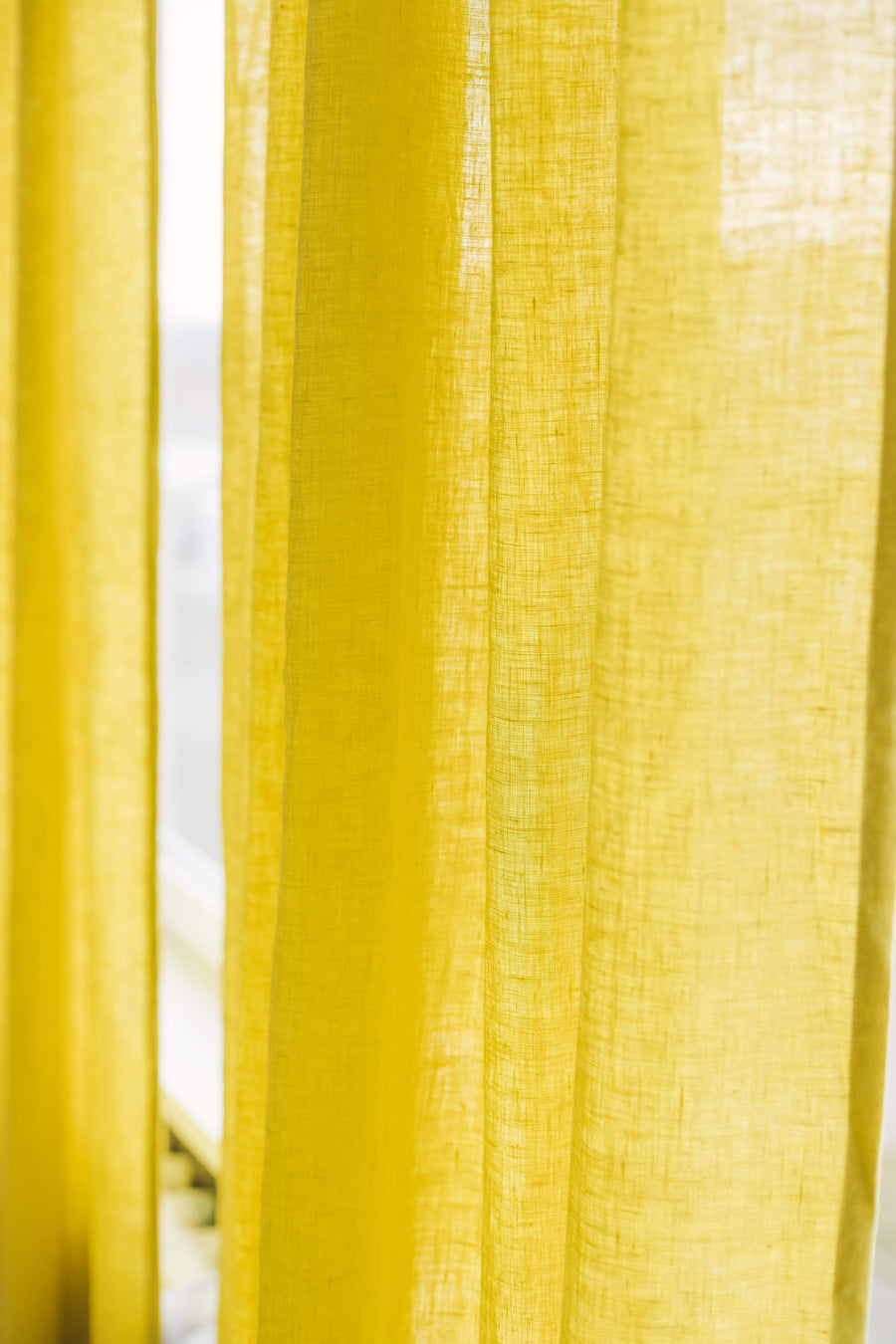 Chartreuse Yellow Linen Curtain